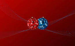 Christmas background. Red christmas background with balls and curves Vector Illustration