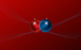 Christmas background. Red christmas background with balls and curves Stock Illustration