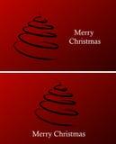 Christmas background. Red christmas background with tree vector illustration