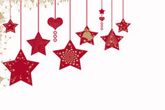 Christmas background. With stars and hearts stock illustration
