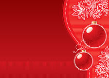 Christmas background. Wlth glass balls and doodle flowers Royalty Free Stock Photo