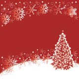 Christmas background. Christmas tree and snowflakes abstract background, red and white Royalty Free Stock Images