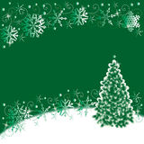 Christmas background. Christmas tree and snowflakes abstract background, green and white Stock Photos