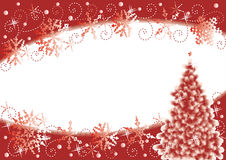 Christmas background. Christmas tree and snowflakes horizontal background, red and white Stock Photo