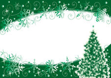 Christmas background. Christmas tree and snowflakes horizontal background, green and white Royalty Free Stock Photo