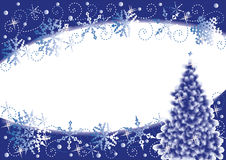 Christmas background. Christmas tree and snowflakes horizontal background, blue and white Royalty Free Stock Images