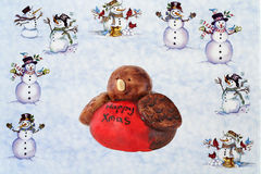 Christmas background. A snowy background with snowmen and a robin Royalty Free Stock Photo