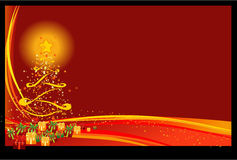 Christmas Background. Red Christmas Eve with many gift boxes and Christmas tree Royalty Free Stock Images
