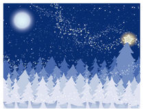 Christmas Background. Winter Night with full moon and sparkling stars Royalty Free Stock Images