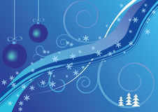 Christmas background. Two blue christmas balls, snow, abstract background Royalty Free Stock Photography
