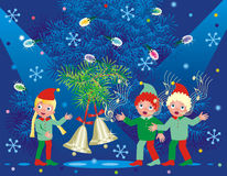 Christmas background. With ringing bells and three caroling elves Royalty Free Stock Images