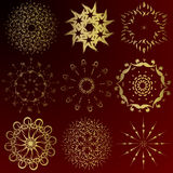 Christmas background. Collection of gold winter snowflakes - christmas background Stock Image