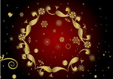 Christmas background. Collection of gold winter snowflakes - christmas background Royalty Free Stock Photography