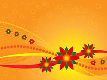 Christmas Background. Illustration of christmas background in bright orange and yellow with poinsettias Stock Image