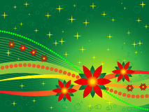 Christmas Background. Illustration of christmas background in bright orange, yellow and green with poinsettias Royalty Free Stock Photography
