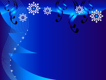 Christmas background. Blue Christmas background with a Christmas tree and snowflakes Royalty Free Stock Photo