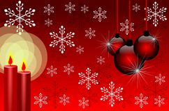 Christmas background in red with candles Stock Photos