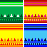 Christmas background. Christmas trees design with simplistic retro shapes on stripes in Vector format Stock Photography