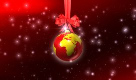 Christmas background. Glitter ball on christmas background Stock Image