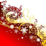 Christmas background. With snowflaces and ribbon Stock Photo