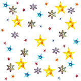 Christmas background. With snow flakes stars lights isolated on white background royalty free stock images
