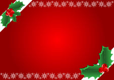 Christmas background. Hollies and snowflake. Vector illustration Royalty Free Stock Image