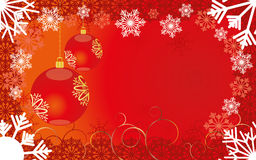 Christmas background 6. Red Christmas card with snowflakes and baubles,  illustration additional Royalty Free Stock Photos