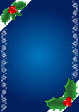 Christmas background. Hollies and snowflake. Vector illustration Stock Photography