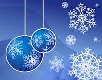 Christmas background. With christmas  tree decoration and snowflakes Royalty Free Stock Image