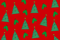 Christmas background. A background pattern featuring randomly placed Christmas trees on red background Royalty Free Stock Photo