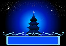 Christmas Background. Christmas tree with dark starry sky Royalty Free Stock Images
