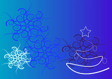 Christmas background. Blue background with christmas tree and snowflakes Stock Photos