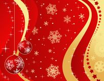 Christmas background. Red and gold christmas background with christmas tree decoration Stock Image