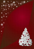 Christmas  background. Sparkling red background illustration with silver christmas tree Stock Photography