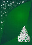 Christmas  background. Sparkling green background illustration with silver christmas tree Stock Images
