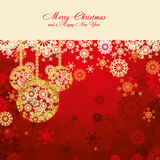 Christmas background 7. Red Christmas card with snowflakes and gold baubles,  illustration additional Royalty Free Stock Images