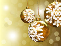Christmas background. A computer generated golden christmas background with balls stock image