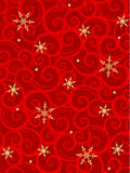 Christmas background. Christmas red vertical background with scrolls, swirls, golden snowflakes and fabric texture Stock Photography