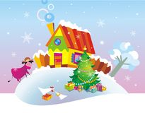 Christmas background. With country house Stock Photo