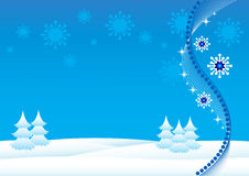 Christmas Background. With Christmas trees and snowflakes royalty free illustration