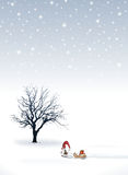 Christmas background. An illustration of a christmas background with a Santa Claus elf stock illustration