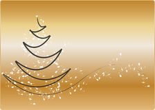 Christmas background. Decorative christmas tree with gold background Stock Photos