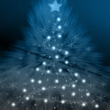 Christmas background. A blue christmas background wxithstars and lighting Stock Illustration
