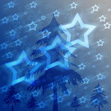 Christmas background. A blue christmas background wxithstars and lighting Royalty Free Illustration