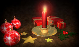 Christmas Background. 3d Christmas composition of a table with a candle light and other decorations Royalty Free Stock Photography