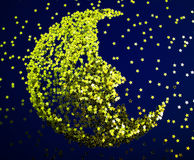 Christmas background. With golden stars and moon Stock Photo