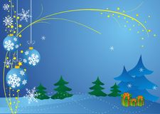 Christmas background. Abstract Christmas background vector with christmas balls and gift box Stock Photos