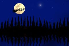 Christmas background. Santa claus on full moon christmas Royalty Free Stock Photos