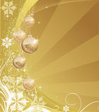 Christmas background. Golden christmas background with evening Balls Royalty Free Stock Image