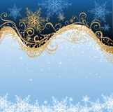 Christmas background. Blue and gold christmas background Stock Images